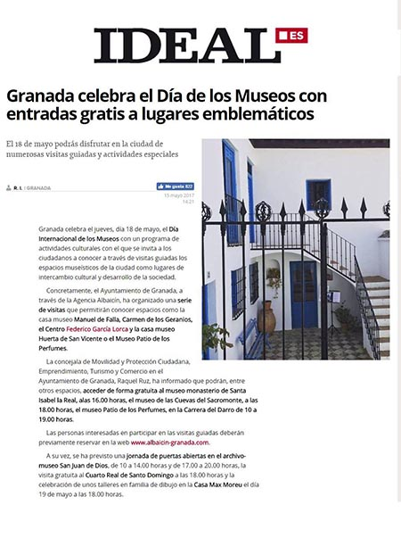 Article online published by Ideal.es, R. I., 15th May 2017